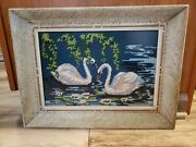 Vintage Framed W Glass Crewel Needlework Embroidered Scene W Swans In Water