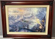 Kinkade Tinkerbell And Peter Pan Fly Ltd. Edition Canvas Rare Size 18x27 W/ Co Gp