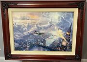 Kinkade Tinkerbell And Peter Pan Fly Ltd. Edition Canvas Rare Size 18x27 W/ Co, Gp