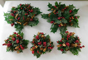 5 X Holiday Candle Rings Centerpiece Wreath Small 10 Holly Berries Christmas