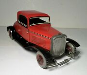1947 Chad Valley Tin Litho Wind Up Ford Two Tone Red And Black Coupe Burnett Toy