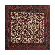 6and0398 X 6and0396 Hand Knotted Square Wool And Silk Authentic Bidjar Area Rug Ivory