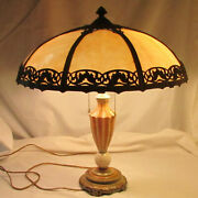 Antique 8 Panel Slag Glass Lamp With Glass And Polychrome Metal Lamp Base 2 Bulbs