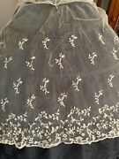 Rare Antique Lace Edging 1m10 By 68cm - Needle Lace Work - Application On Tulle