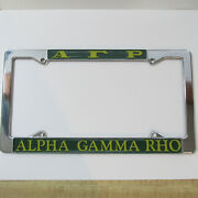 Alpha Gamma Rho Chrome License Plate Frame, Die Cast, New, Made In Usa