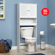 Gymax Bathroom Space Saver Over The Toilet Shelved Storage Cabinet Organizer Whi