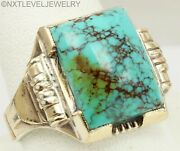 Antique Signed Ostby And Barton Kingman Mine Turquoise Silver And 10k Gold Mens Ring