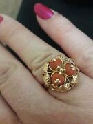 14 Ct Gold Antique Coral And Attractive Ornate Orange Coral Bead Cluster Ring