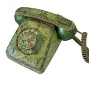 Siemens Rotary Phone, Floral Rotay Phone, Vintage Hand Painted Rotary Telephone