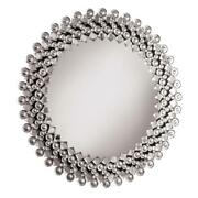 Elegant Clear Round Wall Mirror With Silver Crystal Borders