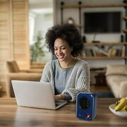 Personal Heater Home Office Desktop Warm Air Blue Space Heat Compact Portable