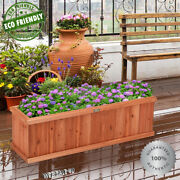 Solid Wood Garden Planter Wooden Plant Box Flower Pot Container Grow Natural Bed
