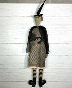 Primitive Halloween Witch Doll With Black Cat Large 44andrdquo Tall Pearsonandrsquos