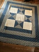 Estate Find - Handmade Patchwork Quilt-embroidered Squares - 86andrdquox99andrdquo