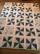 Estate Find - Handmade Patchwork Quilt-beautiful Hand Quilted - 72andrdquox90andrdquo