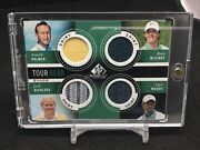 2013 Sp Game Used Tour Gear Quad Tiger Woods Mcilroy Rc Palmer Nicklaus Shirt