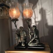 Pair Antique Monkey Lamps Cast Iron Victorian Glass Hand Painted Shades Monkeys