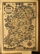 Vtg Esso Plan Of Ireland Storytelling Historical Poetic Picture Map A E Taylor .
