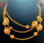 Vintage Kenneth Jay Lane Pearl And Crystal Station Necklace