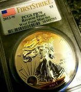 Pcgs Pr70 2013-w Reverse Proof Silver Eagle Andbull 99.9 Silver Andbull Golden Toned
