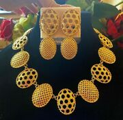 Vintage Christian Dior Gold Plated Basket Weave Necklace, Earrings And Brooch Set