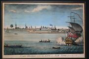 Carwitham Original Engraving Fort George With The City Of New York From The Sw