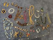 Vintage Mostly Rhinestone Jewelry Lot 35 Pcs Some Signed