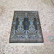 Yilong 2.7and039x4and039 Blue Handmade Silk Rug Home Office Durable Porch Carpet Z455a