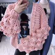 Winter And Spring Womenand039s Fashion Long Lantern Sleeve Knit Cardigan Sweater Top