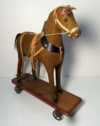 Early German Hide Covered Horse On Wheeled Platform Pull Toy