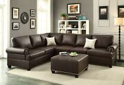 Reversible Loveseat Wedge Sofa Couch 2pc Sectional Set Espresso Bonded Leather