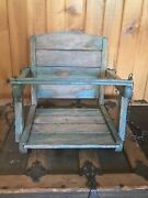 Vintage 1940and039s Wooden Chippy Paint Childand039s Swing With Chains Rustic
