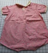 9575 Antique 1920-30's Baby Romper, Cute Juvenile Print, Toys And Words On Pink