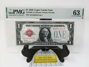 1 1928 Us Legal Tender Red Seal. Pmg Choice Unc 63 Friedberg 1500.