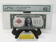 1 1928 Us Legal Tender Note Red Seal. Pmg 63 Epq Choice Uncirculated Fr1500