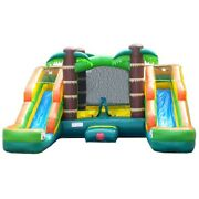 Inflatable Water Slide Bounce House Pogo Tropical Kids Blow Up Jumper And Blower