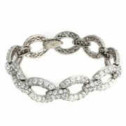 Hsn Jean Dousset Absolute Sterling Silver Chain Link Pave 7.5 Bracelet 599
