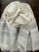 Nwt Eileen Fisher Ivory Organic Cotton Silk Shimmer Wrap Scarf - New In Package
