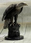 Bronze Sculpture Statue Of Bald Eagle By Moigniez Marble Base Outdoor 14 X 15