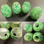 4 Light Hanging Hand Blown Art Glass Pendant Lamp Green Pebbled Marbled Cased
