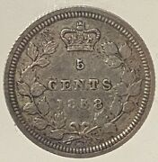 Canada Victoria 5 Cents 1858 Large Date - Iccs Vf-30