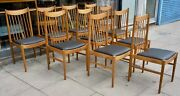 10x Vintage 60s Arne Vodder Danish Teak Dining Chairs With Black Leather Seats