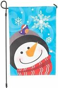 Frosty And Friends Evernote Christmas Flag W/ Metal Stand Motion Activated Music
