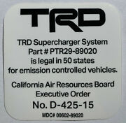 Toyota Trd Supercharger Carb Sticker Eo D-425-15 4runner, Trucks, And More