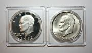 Lot Of Two 1972 S Silver Gem Proof And Silver Gem Uncirculated Ike Dollars