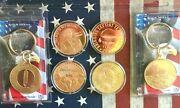 Lot Donald Trump 1 Oz .999 Copper Round Coin + Gold Tone Build The Wall Keychain