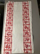 Vintage Large Kitchen Towels Set 3 White With Red Fruit Very Retro