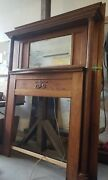 Antique Oak Fireplace Mantel With Beveled Glass Mirror