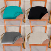 2/4/6pcs Stretch Dining Seat Covers Pure Color Removable Table Chair Slipcovers