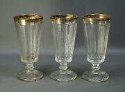 Antique Depression Glass Crystal Footed Stemware Tumbler Goblet Cups W/gold Rim